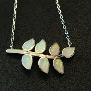 Sterling White Opal Leaf Olive Branch Necklace